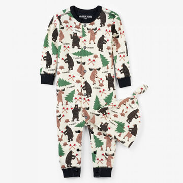 Hatley Boys Little Blue House Lumberjack Animal Coverall with Hat