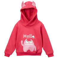 Doodle Pants Toddler Girls' Pink Monster 3D Sweatshirt