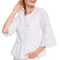 Vineyard Vines Women's Island Eyelet Tiered Long-Sleeve Top