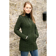 Aran Crafts Women's Long Hooded Celtic Knot Zip Front Irish Sweater