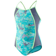 Speedo Girl's Hexaplex Thin Strap One Piece Swimsuit