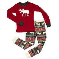 Lazy One Boys' Moose Fair Isle PJ Set