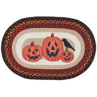 Capitol Earth Three Jack-O-Lanterns Oval Patch Braided Rug