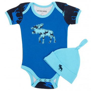 Hatley Infant Boys Blue Moose Onesie w/Cap