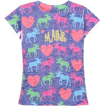 Lakeshirts Girls' Blue 84 Neon Critter Short-Sleeve Sleep T-Shirt