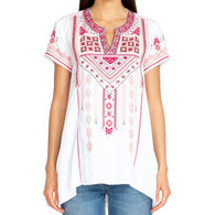 Johnny Was Women's Sabriya Boho Drape Short-Sleeve Top