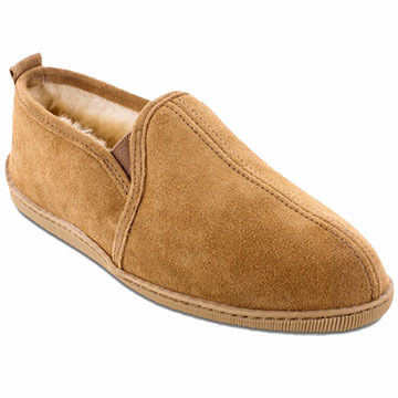 Minnetonka Mens Sheepskin Twin Gore Slipper