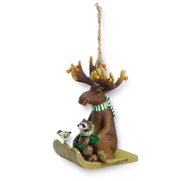 Cape Shore Resin Moose On A Toboggan Ornament