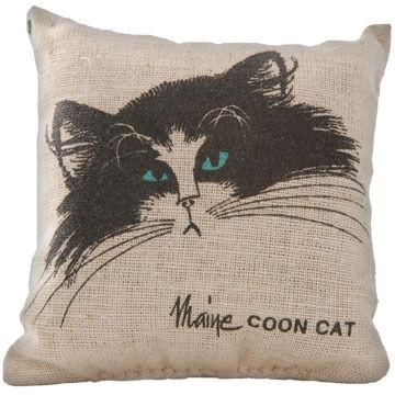 """Maine Balsam Fir 4"""" x 4"""" Maine Coon Cat Face Balsam Pillow"""