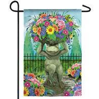 Evergreen Floral Frog Statue Garden Flag