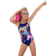 Girl & Co. Girl's Juliette Cross Back One Piece Swimsuit