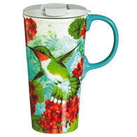 Evergreen Trio Birds Ceramic Travel Cup w/ Lid