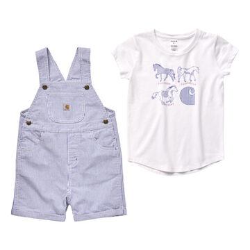 Carhartt Infant Girls Ticking Stripe Lolite Shortall Set, 2-Piece