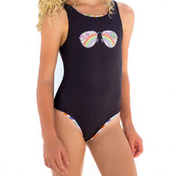 Girl & Co. Limeapple Rebel Reversible Rainbow Sunglasses One-Piece Swimsuit