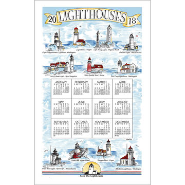 Kay Dee Designs 2018 Lighthouses Calendar Towel