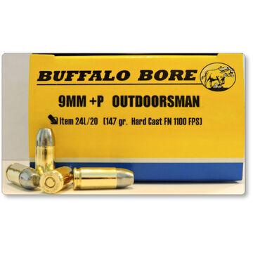 Buffalo Bore Outdoorsman 9mm +P 147 Grain Hard Cast FN Handgun Ammo (20)