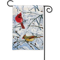 BreezeArt Winter Morning Cardinals Garden Flag