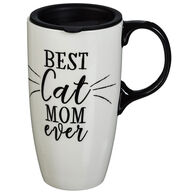 Evergreen Best Cat Mom Ever Ceramic Latte Travel Cup w/ Lid