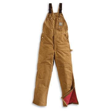 Carhartt Men's Big & Tall Cotton Duck Zip-Leg Quilt-Lined Bib Overall