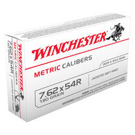 Winchester 7.62x54R 180 Grain Metric Caliber FMJ Rifle Ammo (20)