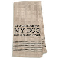 Mona B My Dog Embroidered Waffle Weave Dishtowel
