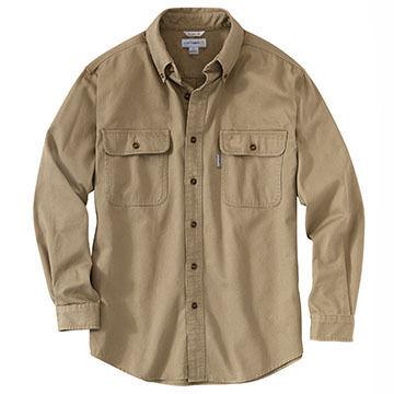 Carhartt Men's Big & Tall Sandstone Twill Long-Sleeve Shirt