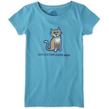 Life is Good Girls Four Legged Word Cat Crusher Short-Sleeve T-Shirt