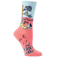 Blue Q Women's I Heard You and I Don't Care Crew Sock