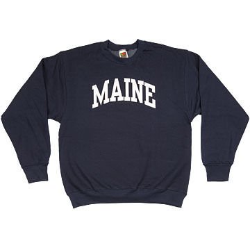 A.M. Mens Maine Arch Design Long-Sleeve Crew-Neck Sweatshirt