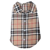 The Worthy Dog Tan Plaid Dog Shirt