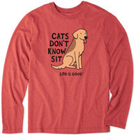 Life is Good Men's Cats Don't Know Sit Cool Tee Long-Sleeve Shirt
