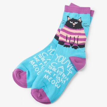 Hatley Little Blue House Womens Cat Be Kitten Crew Sock