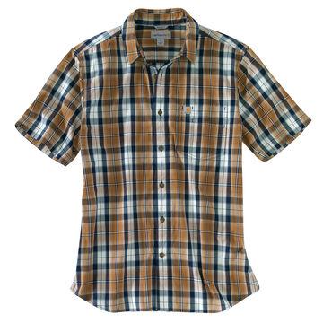 Carhartt Mens Essential Plaid Open Collar Button Down Short-Sleeve T-Shirt