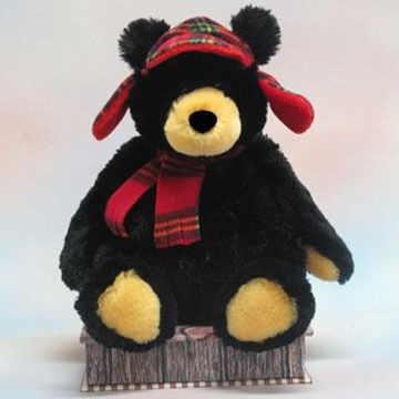 Wishpets Stuffed Black Bear w/ Hat & Scarf