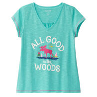 Hatley Little Blue House Women's Glamping V-Neck Jersey Sleep Tee