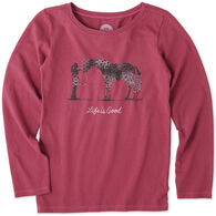 Life is Good Girls' Besties Horse Long-Sleeve Crusher T-Shirt