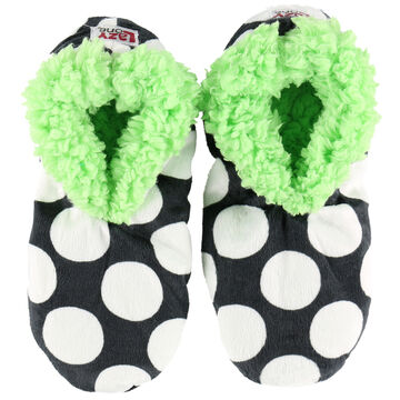 Lazy One Womens Polka Dot Fuzzy Feet Slipper