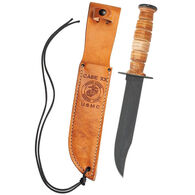Case USMC Grooved Leather Fixed Blade Knife