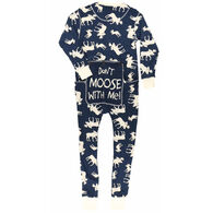 Lazy One Men's Blue Classic Moose Flapjacks Pajama