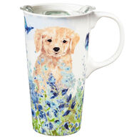 Evergreen Puppies in the Meadow Ceramic Travel Cup w/ Lid
