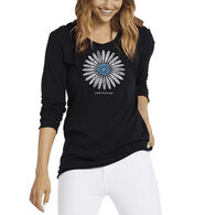 Life is Good Women's Primal Daisy Long-Sleeve Hooded Smooth T-Shirt