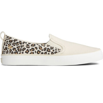 Sperry Womens Crest Twin Gore Washed Twill Animal Print Sneaker