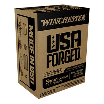 Winchester USA Forged 9mm Luger 115 Grain Steel Case FMJ Ammo (150)