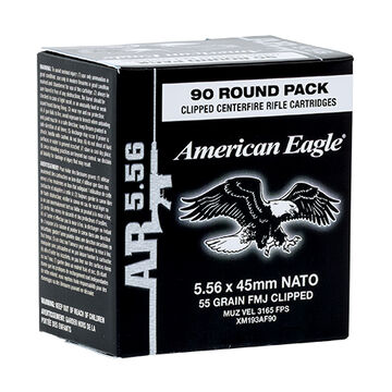 American Eagle 5.56x45mm 55 Grain FMJ Clipped Rifle Ammo (90)