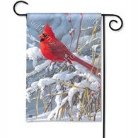 BreezeArt Cardinal In Snow Garden Flag