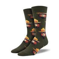 Socksmith Design Men's Prevent Wildfires Smokey Face Crew Sock