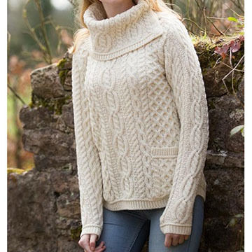 Aran Crafts Womens Shirttail Cowl Irish Sweater
