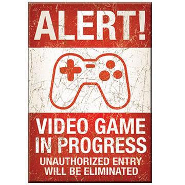 Desperate Enterprises Alert Video Game In Progress Magnet
