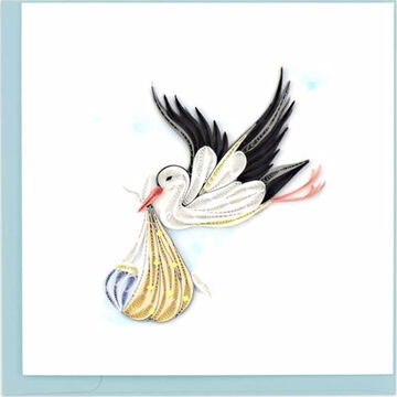 Quilling Card Special Delivery Stork Greeting Card