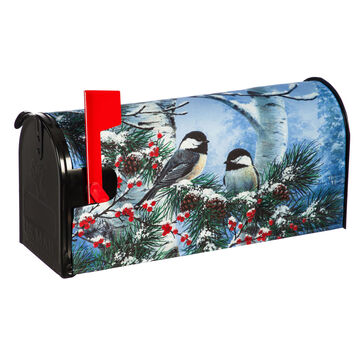 Evergreen Winter Chickadee Friends Mailbox Cover